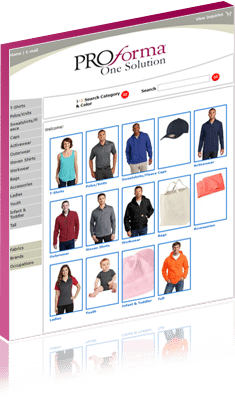 screenshot from Proforma website apparel page