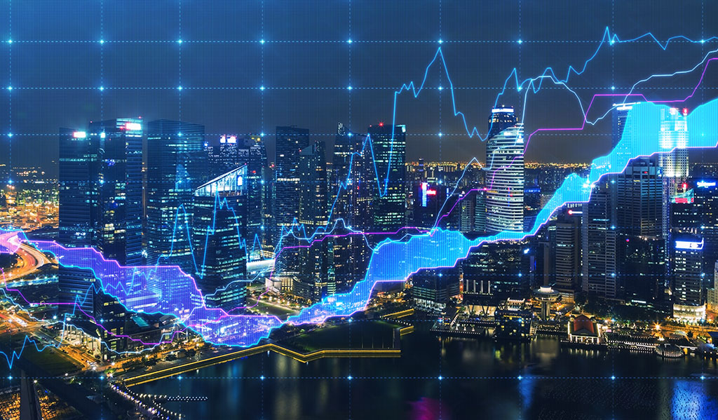 Panoramic evening view with the digital financial chart