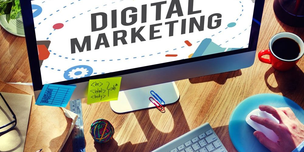 close up of monitor with the words Digital Marketing displayed