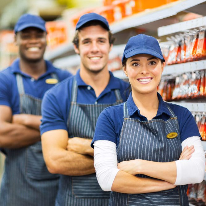 retail employees in uniforms